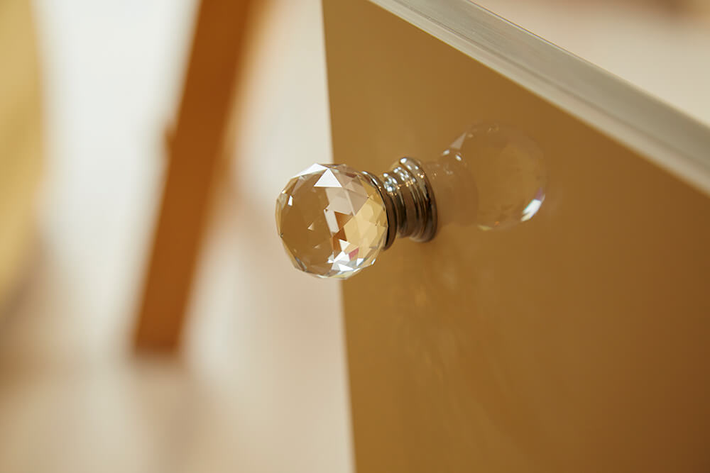 Crystal cut glass door knobs
