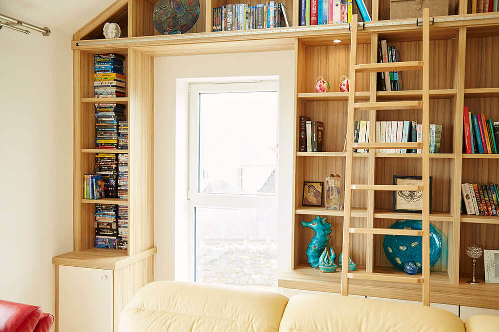 Bookcase framed around door