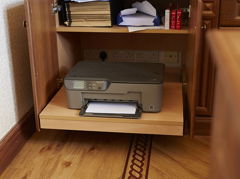 Slide out printer shelf