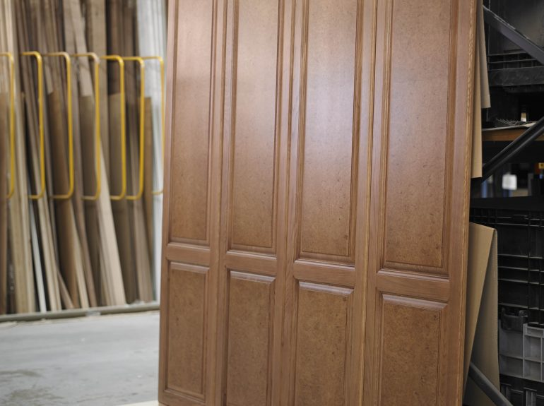 Bespoke Oak burr wardrobe in Strachan factory