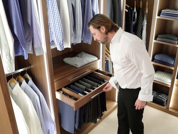 Strachan fitted walk-in wardrobes with pull out trouser holder