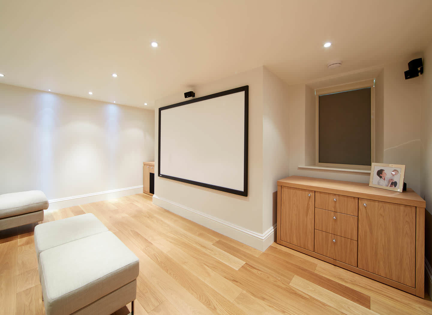 Case study showing drawers in home cinema basement conversion