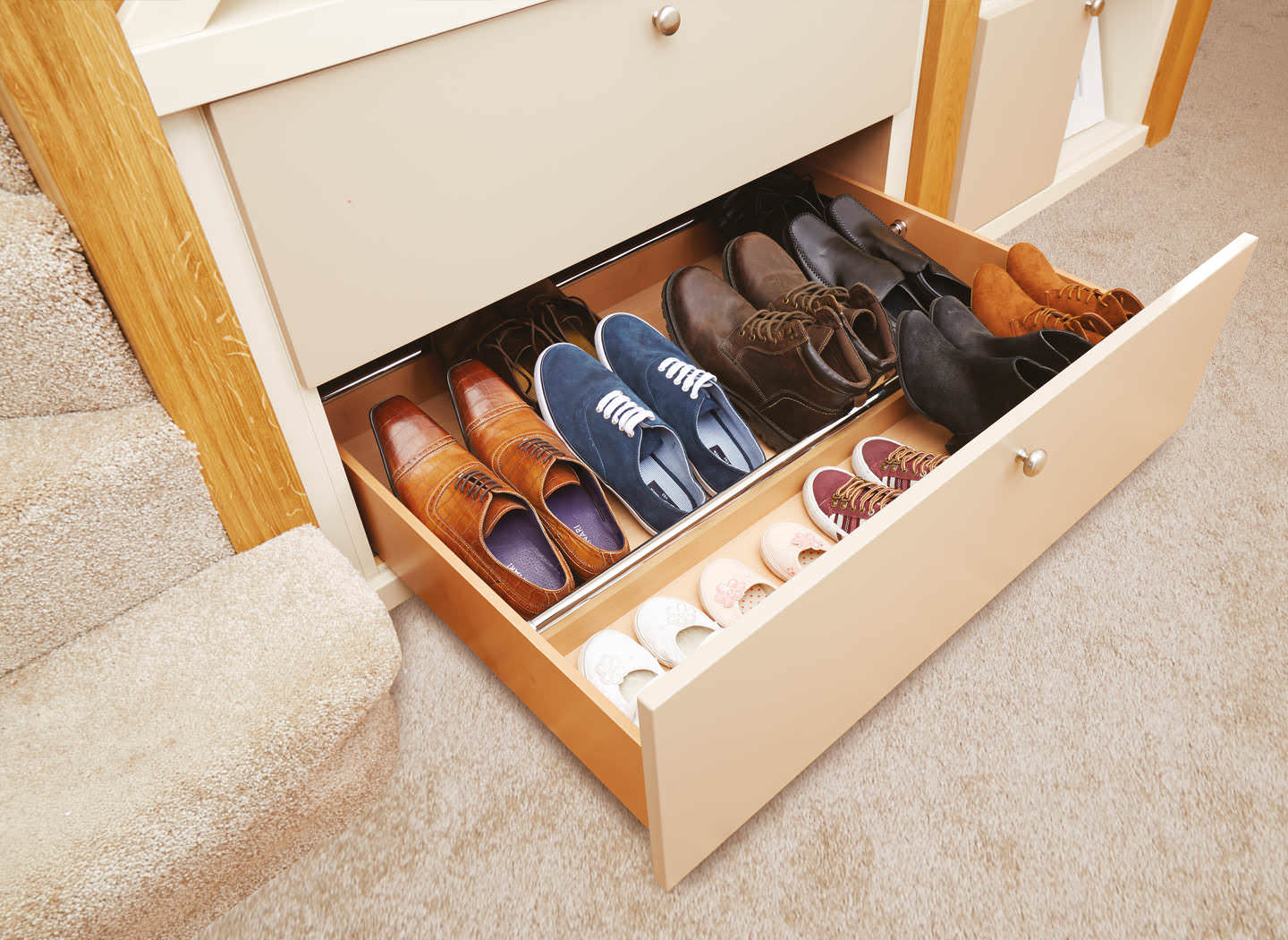 Case Study Showing Pull Out Shoe Drawer In Hallway
