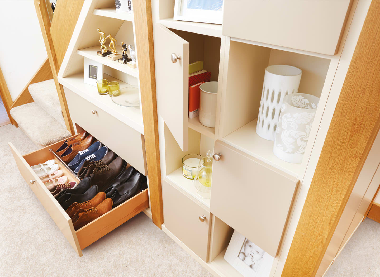Case study showing understair storage in hallway