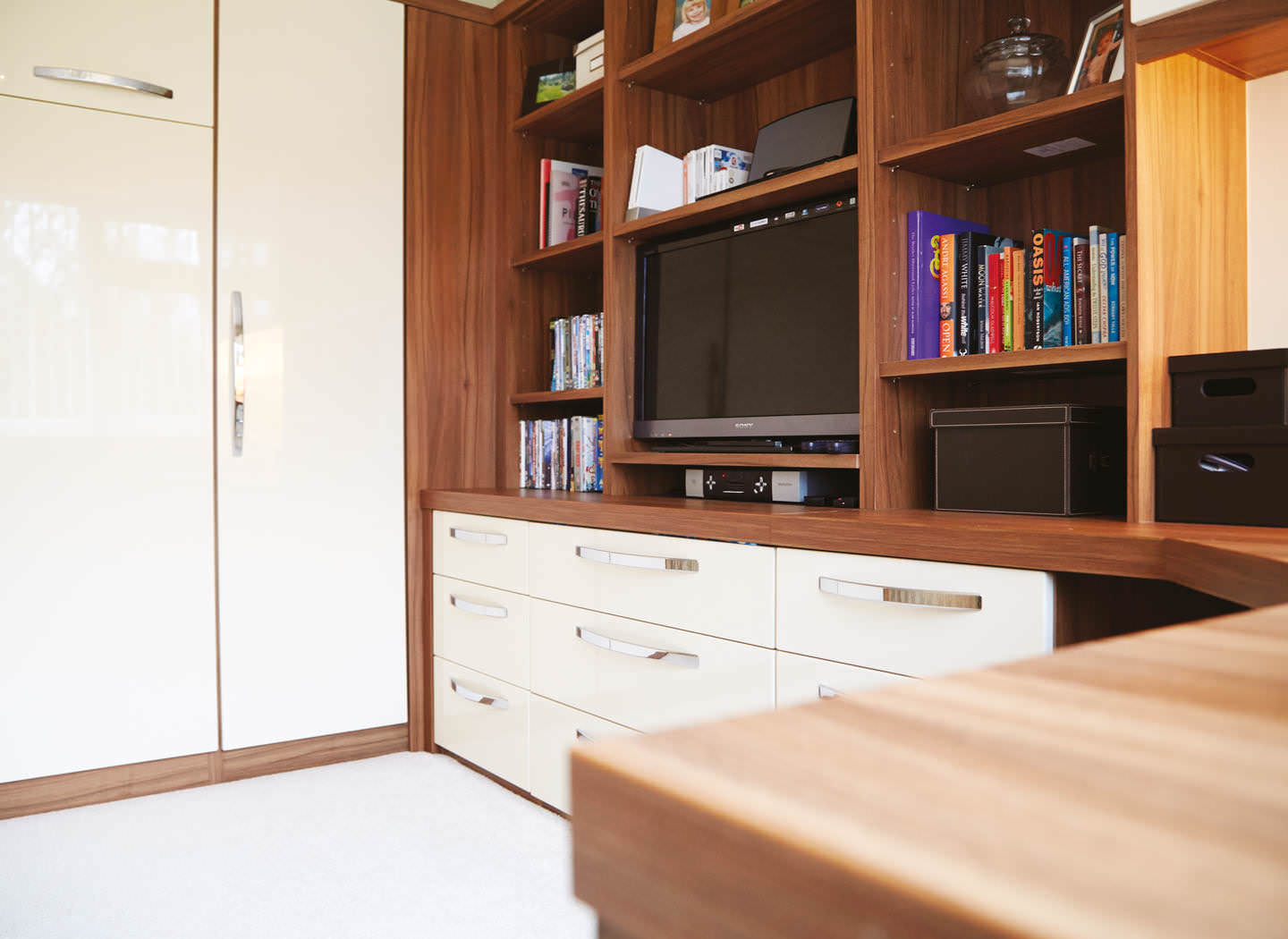Case study showing fitted drawers and shelves in study bedroom