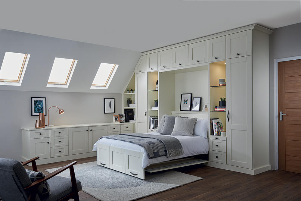 Strachan Furniture Alabaster White Wall Bed & Over Cupboard Storage