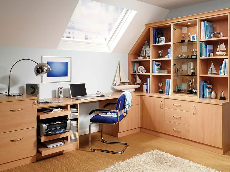 Fitted work desk under skylight in Prima home study