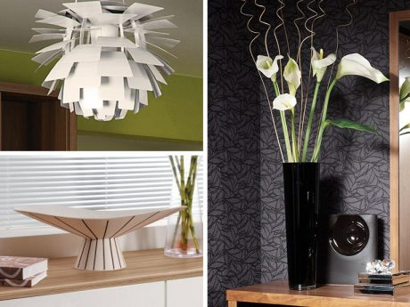 Light shade and bowl in trong geometric shapes alongside steeped profile vase
