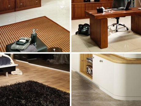 Polished wood and vinyl flooring help achieve an art deco look