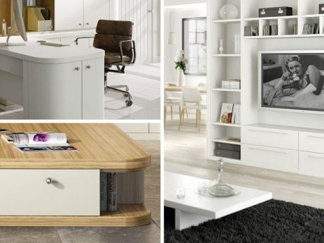 Furniture can be finished in a softer painted or wood shades combining clean sharp lines with smooth curved profiles