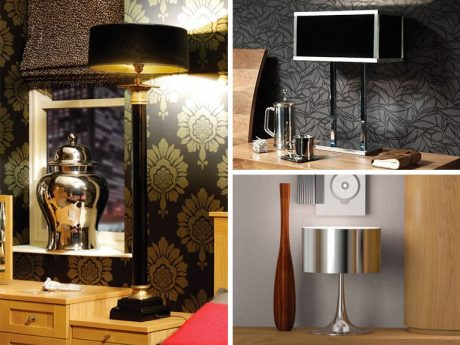 Standard lamps in dramatic shapes with high shine finishes in metal and glass