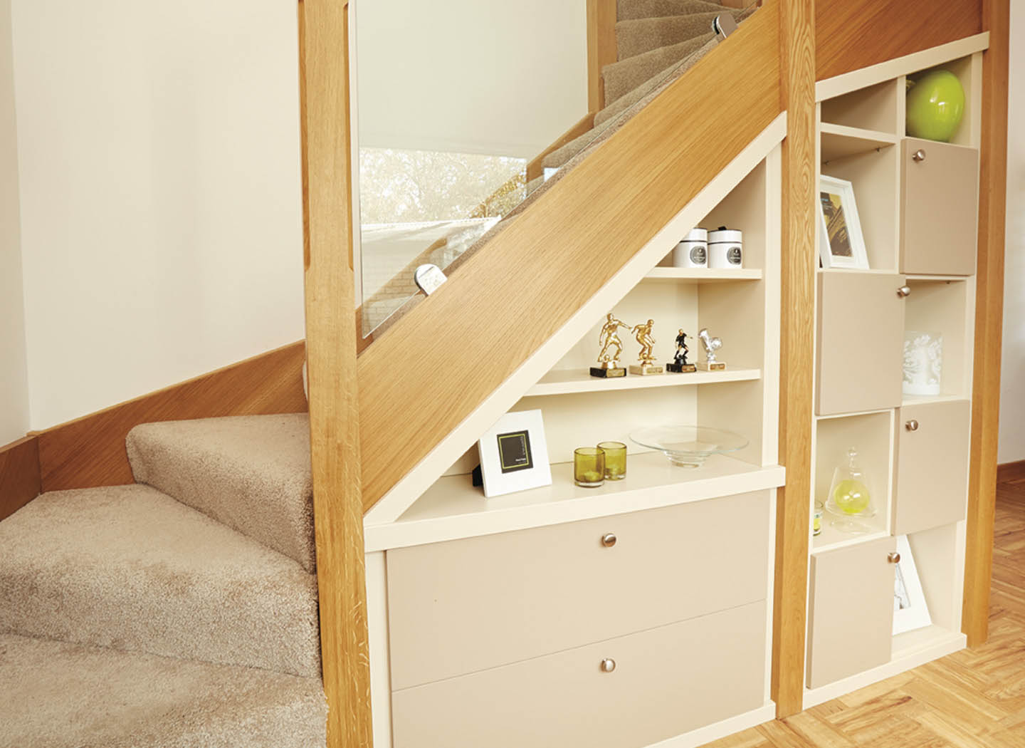 Under stair bespoke dresser in Gloss White and Oyster