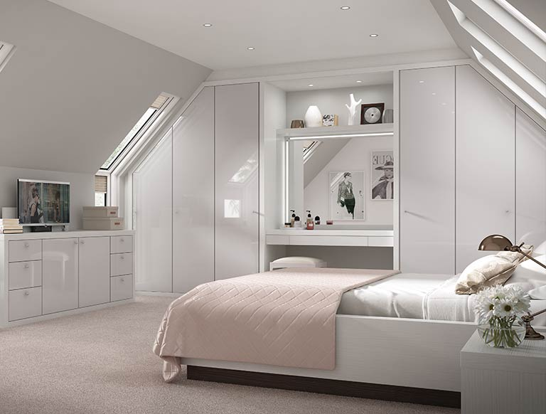 High Gloss grey bedroom configuration