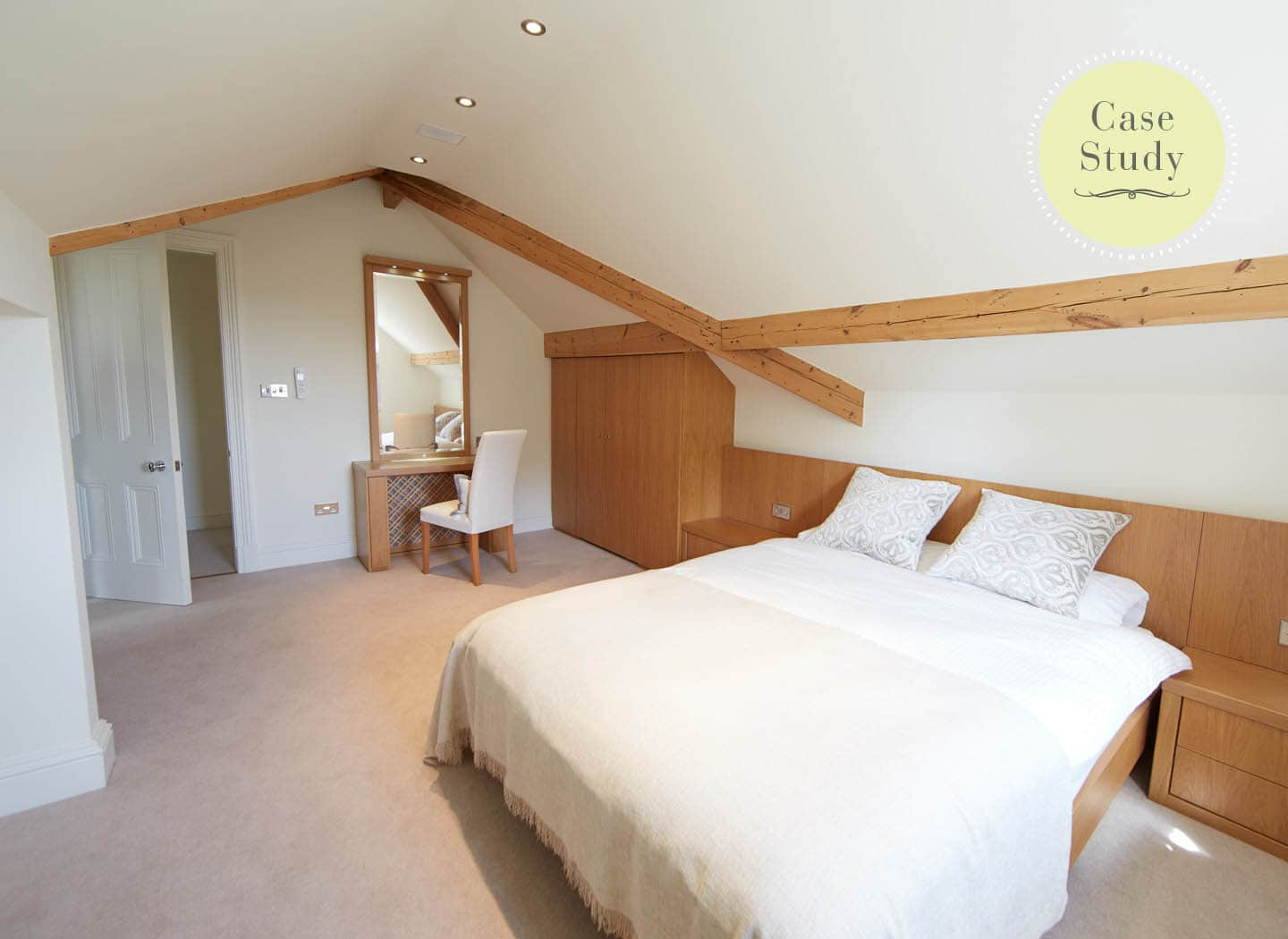 Case study showing bedroom in loft conversion