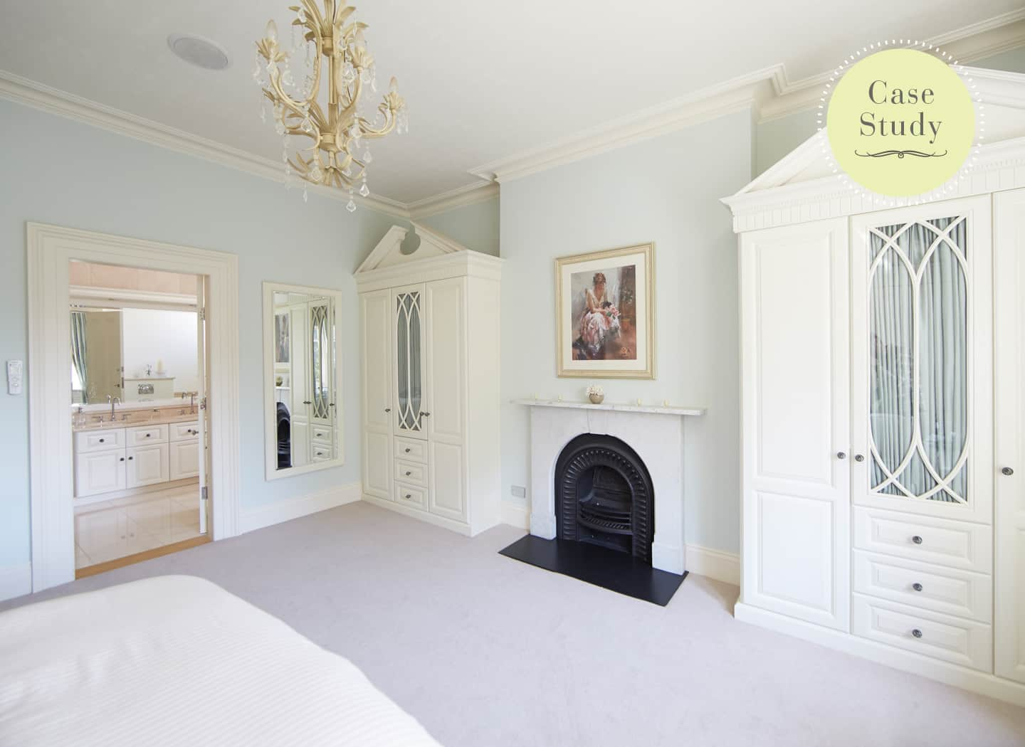 Case study showing traditional master bedroom
