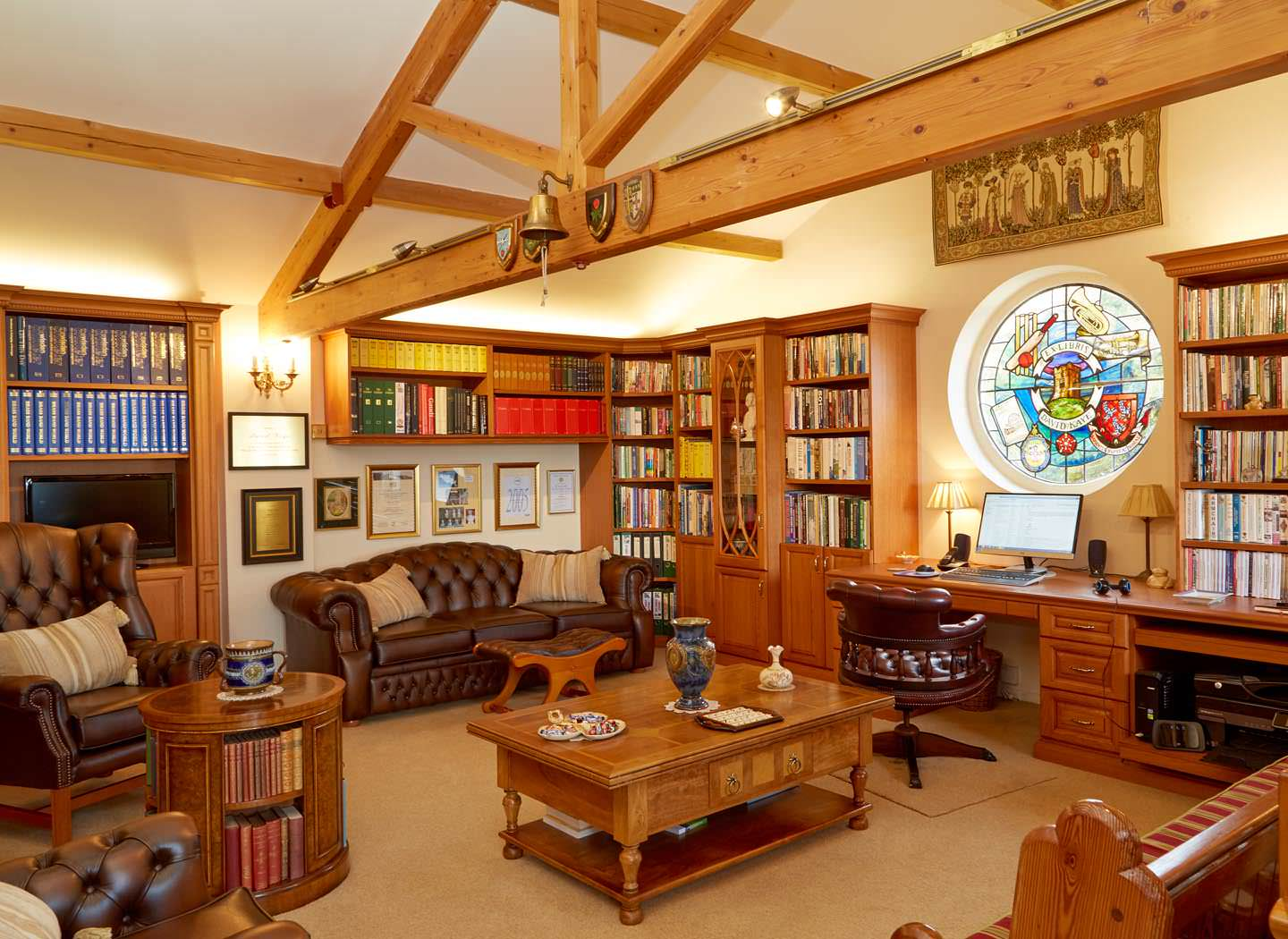 opulent fitted library in shades of oak case study
