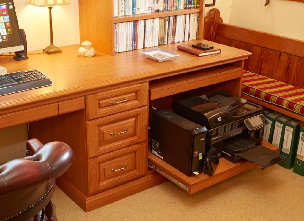 diy fitted home office furniture sliding wardrobes case study showing slide out printer space in desk the inside story on strachan fitted home offices