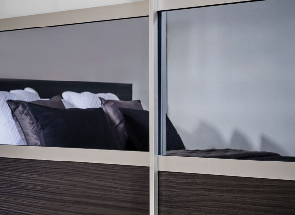 Close up of sliding door panels with contrasting finish