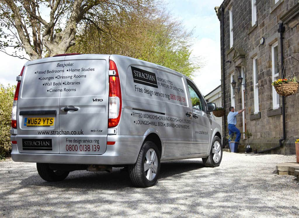 A delivery van come to fit your bespoke fitted furniture