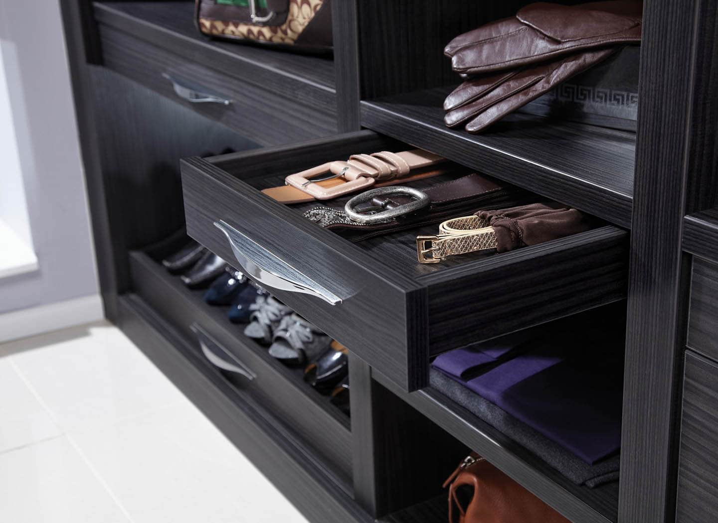 Accessory drawer in detail in Aura Black