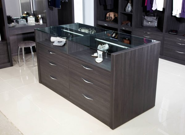 Freestanding island unit in dark wood