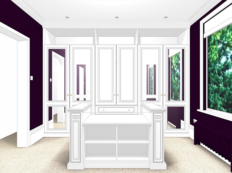 A CAD drawing of a traditional luxury fitted dressing room by Strachan Furniture