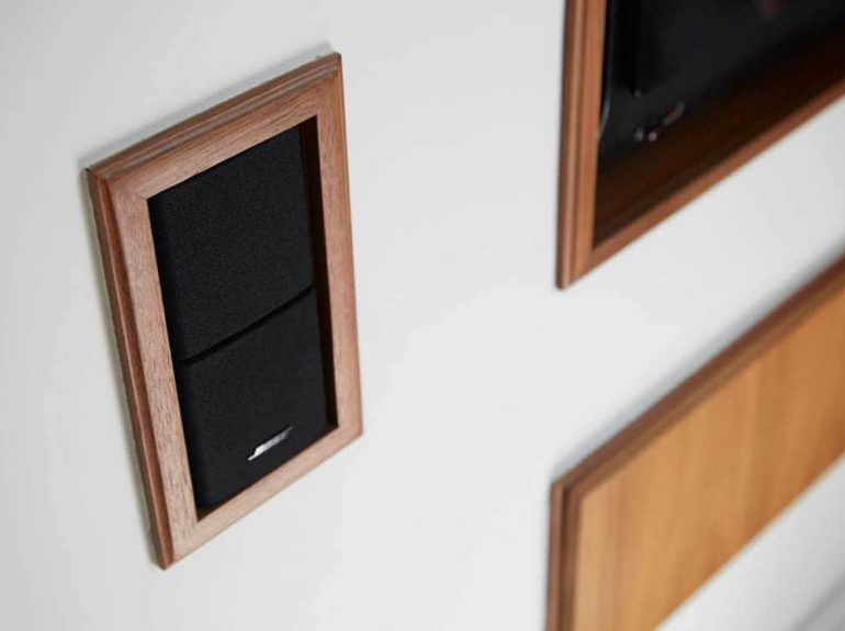 Wood surround on inset speakers