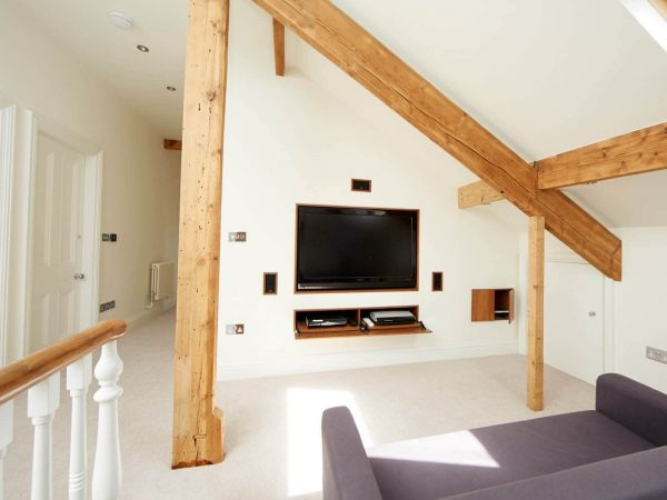 Stylish home entertainment system built into the wall
