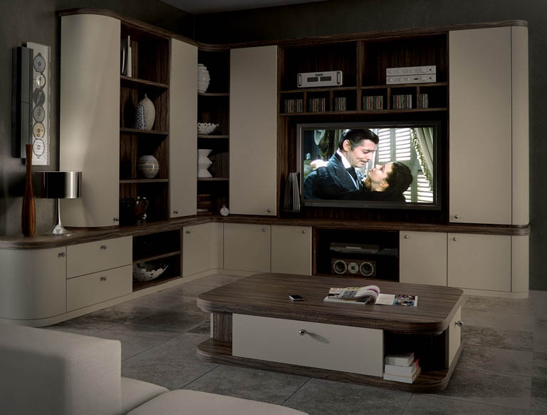 Optima home cinema in Oyster and Dark Olive