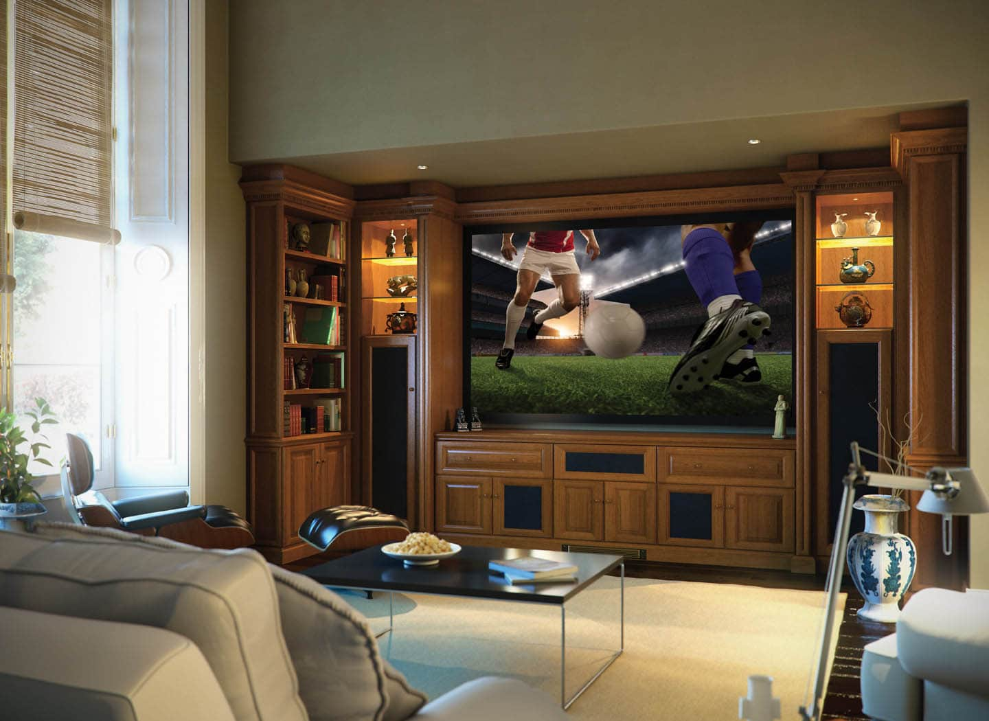 Traditional home cinema showing a football match