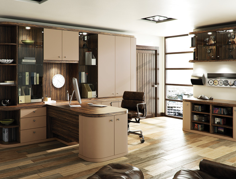 Optima home office in Dark Olive and Cappuccino