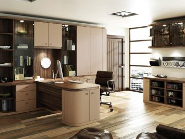 Optima home office in Cappuccino and Dark Olive