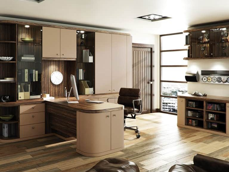 Optima home office in Cappuccino & Dark Olive