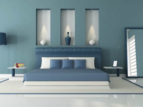 Glossy blue and white bedroom