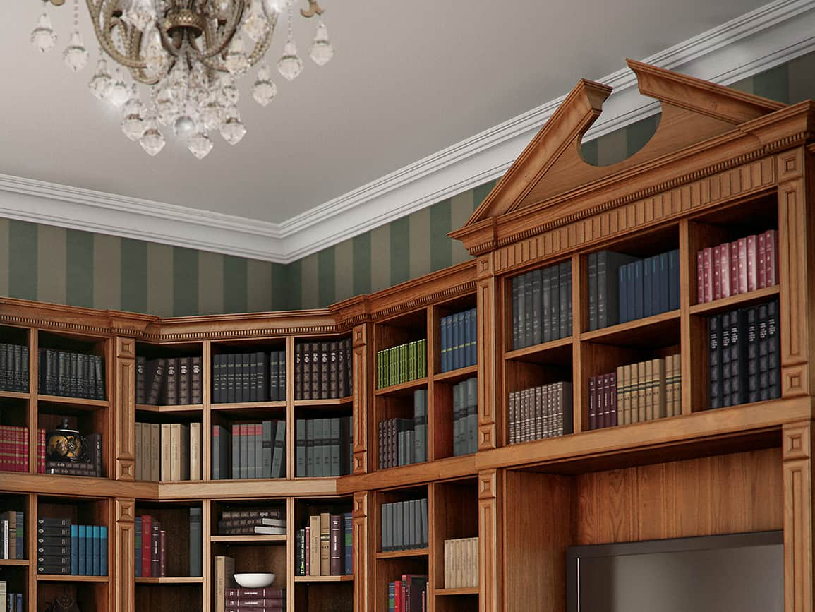 Fitted bookshelves with a detailed textured finishing