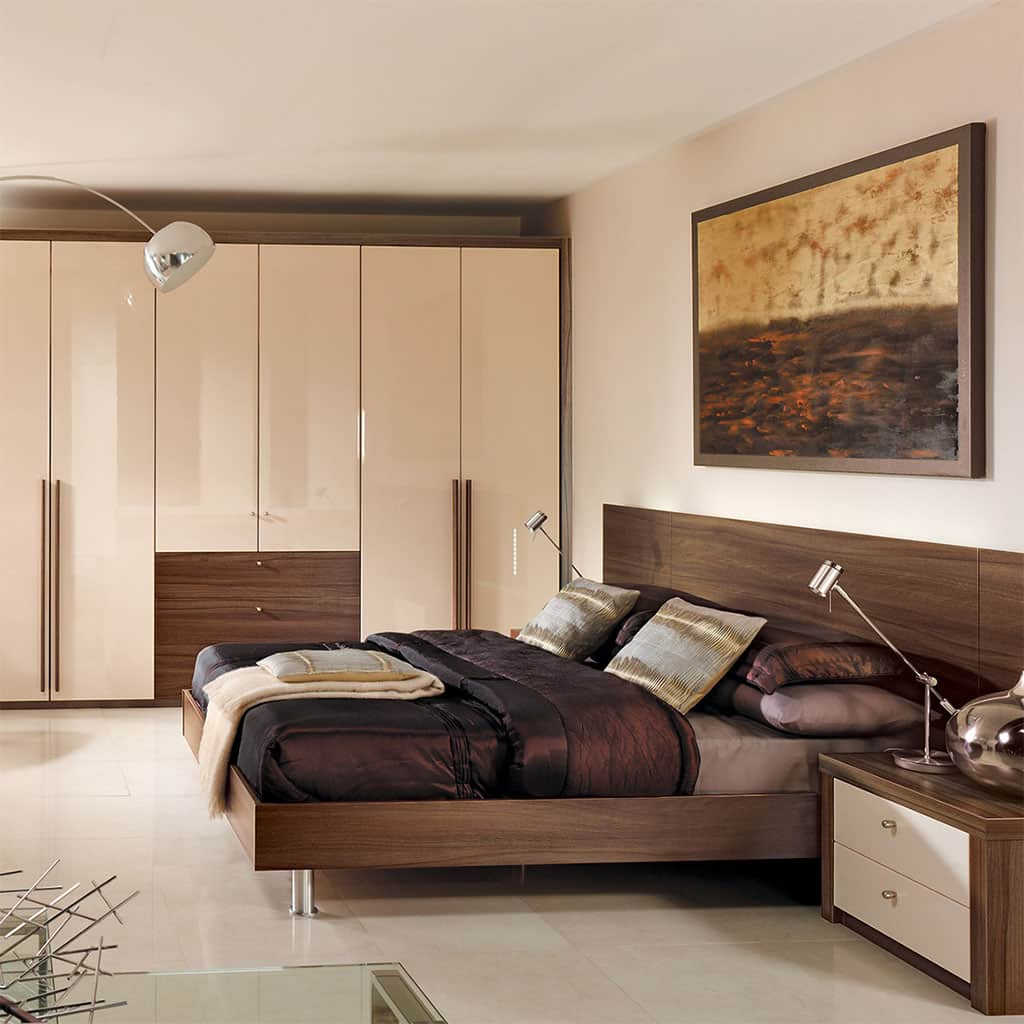 Fitted bedroom with a strong textured design