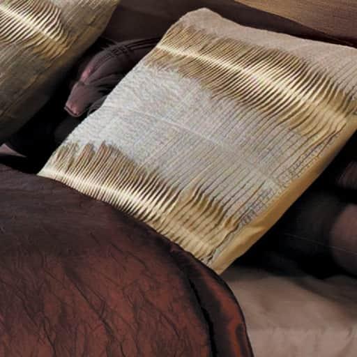 Raw pleated silk cushions