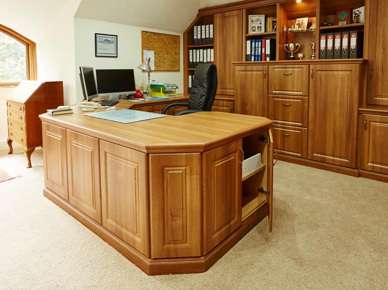 A luxury U shaped desk in a home office