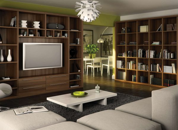 Fitted bookshelves with a sophisticated walnut finish