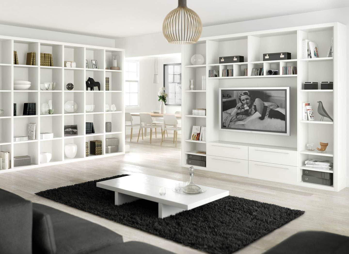 Contemporary fitted bookcases in Pure White
