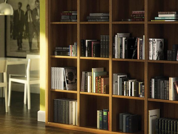 Detail of fitted bookcase corner