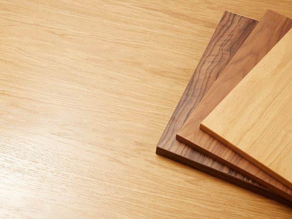 Wood veneer samples in Oak, Walnut and Maple