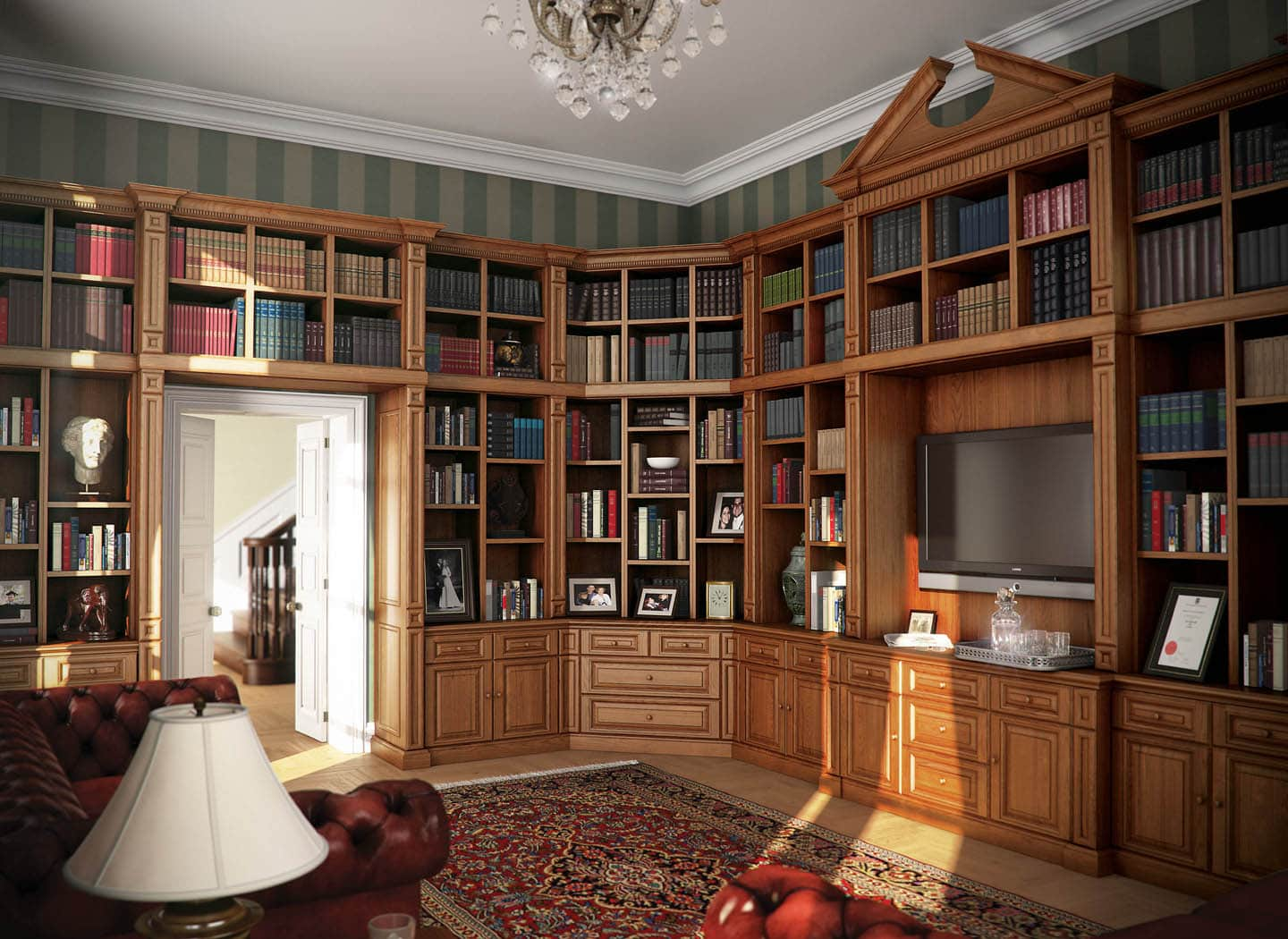 Traditionally styled library shelves