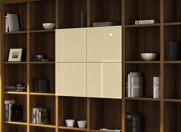 Contemporary panelled shelving fronts