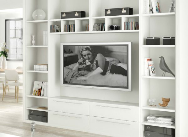 Fitted shelving with space for your television