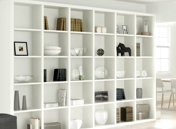 Modular fitted bookshelves