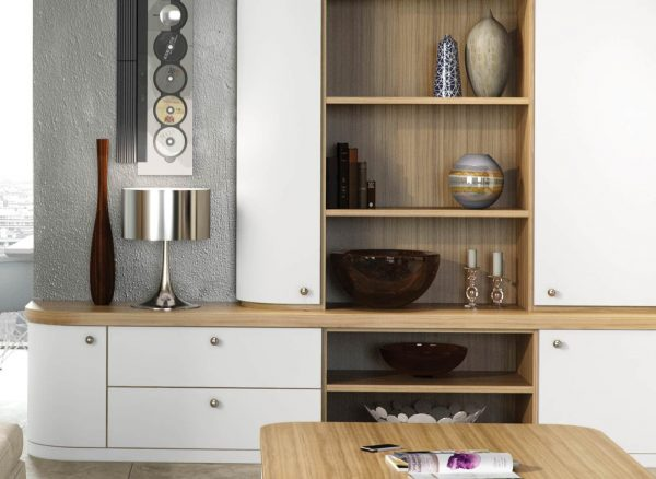 Fitted furniture in contrasting finishes