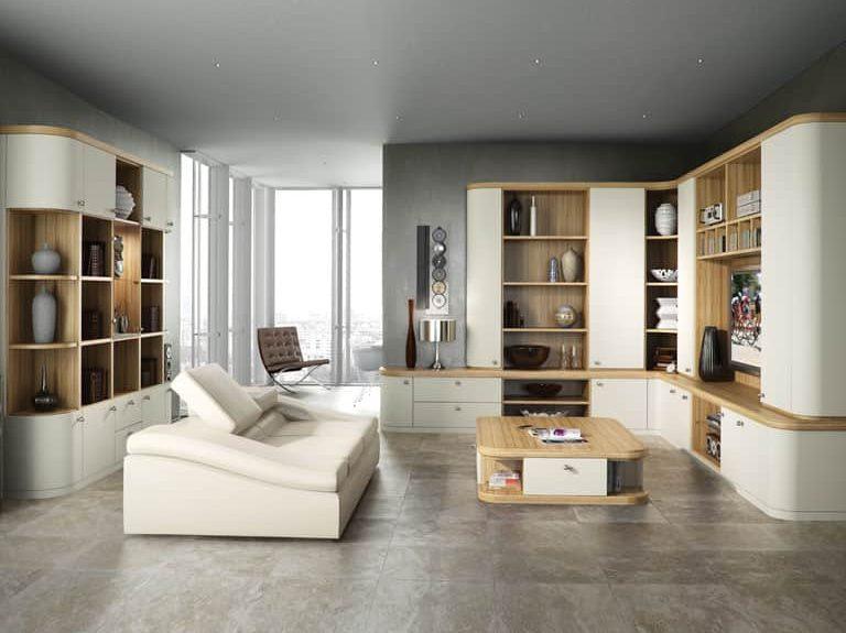 Optima lounge in a Soft White & Granadillo finish