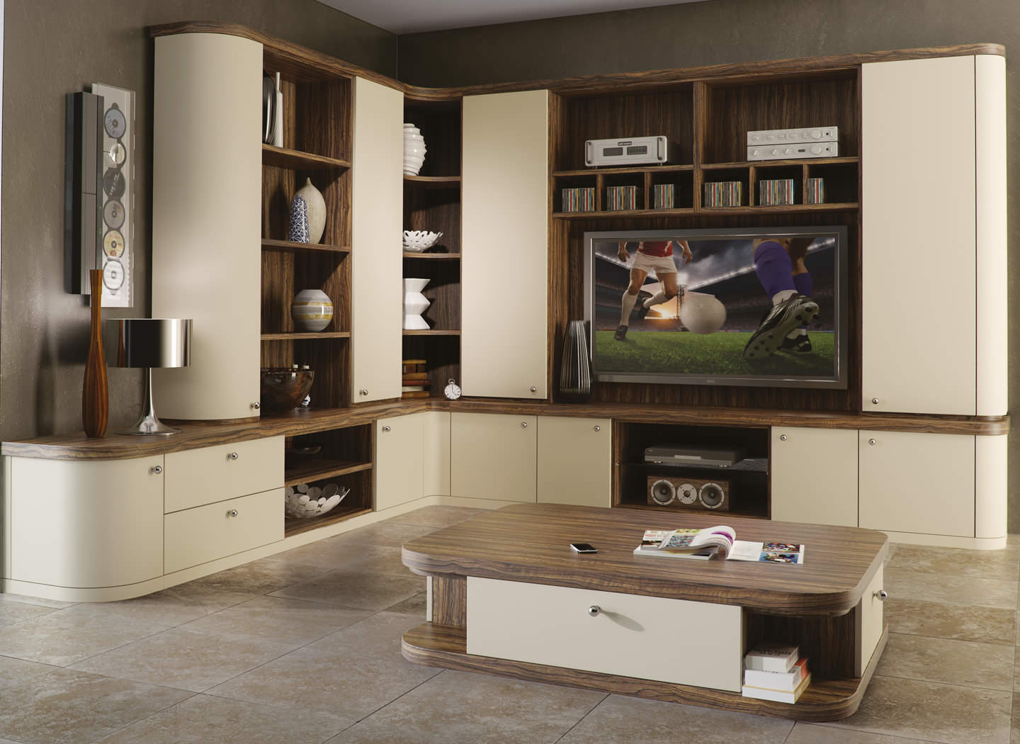 Optima lounge with fitted cabinet and matching coffee table