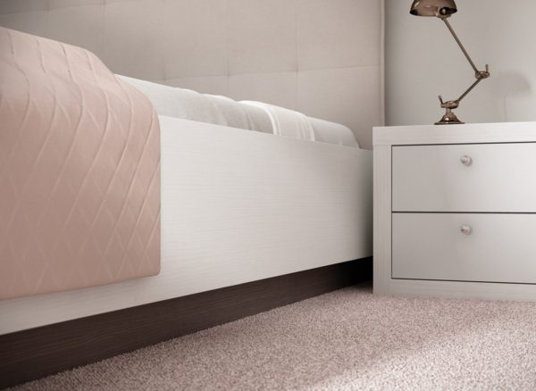 Contemporary style bed with contrasting bed frame finish